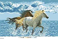 Схемы для вышивки крестом на канве А3-14-106 Пара лошадей в море