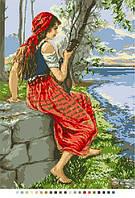 Схемы для вышивки крестом на канве А3-14-120 Девушка у реки