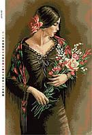 Схемы для вышивки крестом на канве А3-16-87 Девушка с цветами