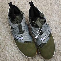 Кроссовки мужские Nike Air Jordan LeBrone зеленые-серые (Top replic), фото 2