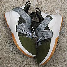 Кроссовки мужские Nike Air Jordan LeBrone зеленые-серые (Top replic), фото 3