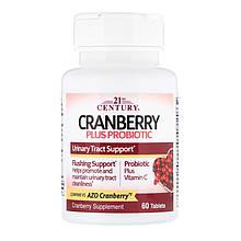 """Клюква с пробиотиками, 21st Century """"Cranberry Plus Probiotic"""" здоровье мочевыводящих путей (60 таблеток)"""