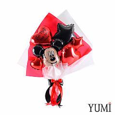 Букет: голова Микки, звезда черная, сердце красное The best for you everyday, красное сердце и звезда микро