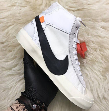 Кроссовки мужские Nike Blazer Mid белые (Top replic), фото 2
