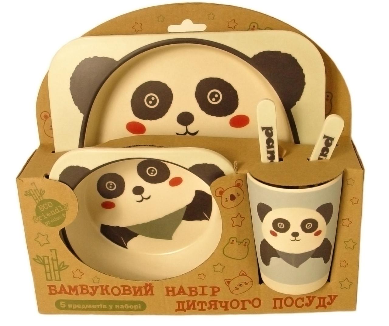 Набір дитячої бамбуковій посуду Stenson MH-2770-7 панда, 5 предметів