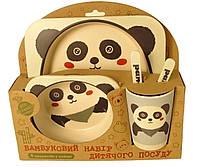 Набір дитячої бамбуковій посуду Stenson MH-2770-7 панда, 5 предметів, фото 1