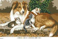 Схемы для вышивки крестом на канве А3-18-71 Собака и котята