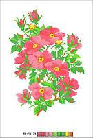 Схемы для вышивки крестом на канве А4-16-034 Розовые цветы