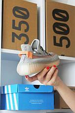Кроссовки мужские Adidas Yeezy Boost 350 серые-оранжевые (Top replic), фото 2