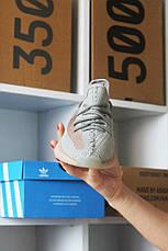 Кроссовки мужские Adidas Yeezy Boost 350 серые-оранжевые (Top replic), фото 3