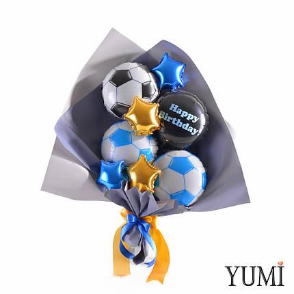 Букет из мини-фигур: 3 футбольных мяча, черный круг Happy birthday, 2 синих и 2 золотых звезды, фото 2