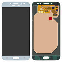 Дисплей Samsung J730 Galaxy J7 (2017), голубой, с сенсорным экраном, оригинал (переклеено стекло)