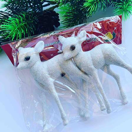 Новогоднее украшение.Украшение ёлочное-оленята белые(2 шт), фото 2