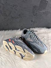 Кроссовки мужские Adidas Yeezy 700 серые-синие (Top replic), фото 3