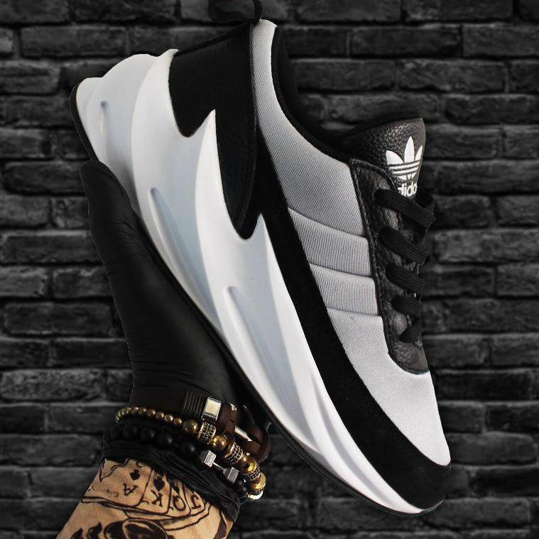 Кроссовки мужские Adidas Sharks черные-серые (Top replic)