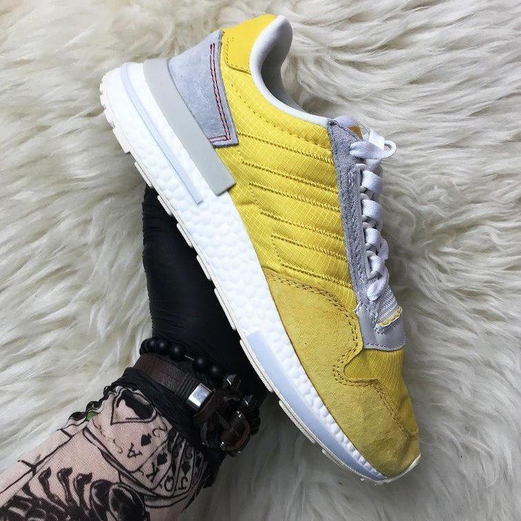 Кроссовки мужские Adidas ZX 500 Bold желтые-белые (Top replic)