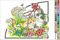 Схемы для вышивки крестом на канве А4-16-051 Котята в корзине цветов