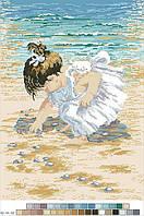 Схемы для вышивки крестом на канве А3-14-033 Девочка у моря
