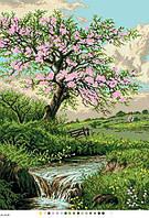 Схемы для вышивки крестом на канве А3-18-083 Цветущее дерево