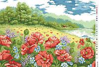Схемы для вышивки крестом на канве А3-18-82 Цветы в поле Собачка под дождем