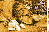 Схемы для вышивки крестом на канве А3-18-40 Собака и котята