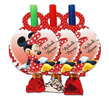 """Язычок ― гудок 6 шт карнавальный """" Мини Маус """" Язычек длиной 10 см. 1587"""