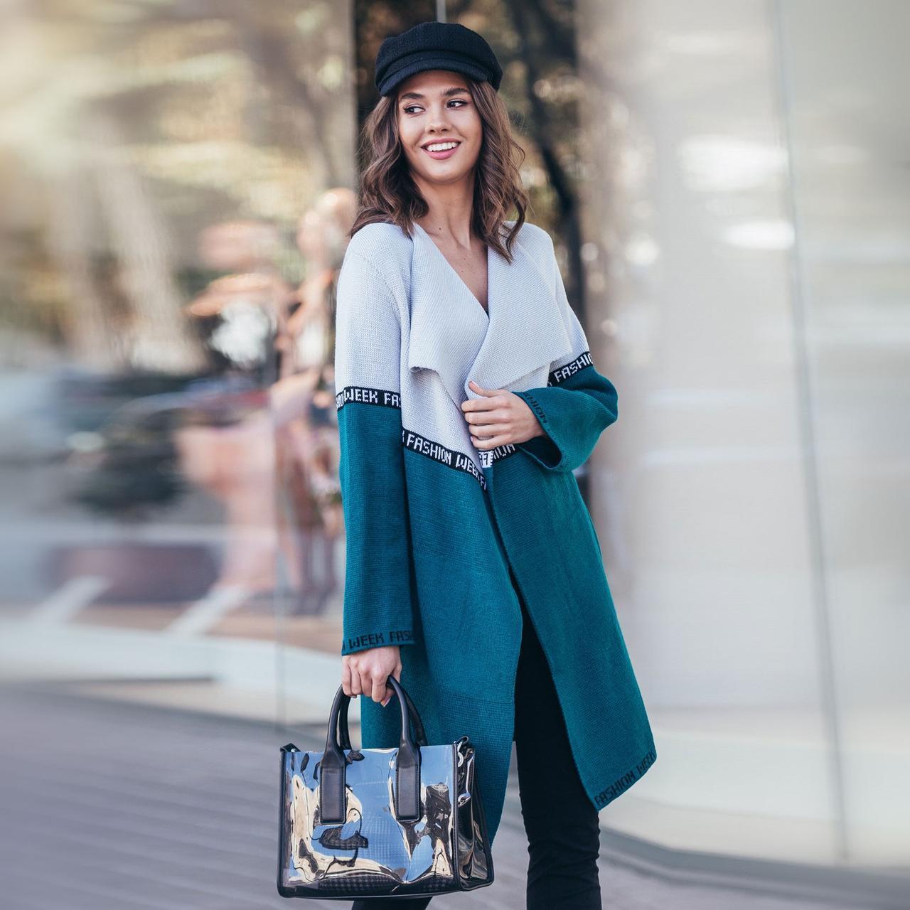 Кардиган Moderika FashionWeek 44-50 сірий з смарагдовим