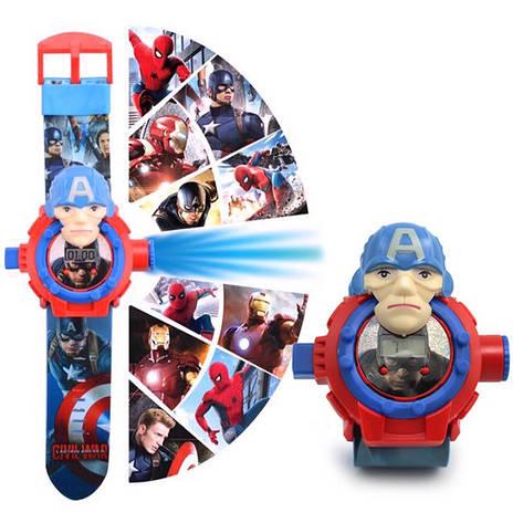 """Дитячі наручні годинники з 3d проектором """"Капітан Америка (Captain America)"""", фото 2"""