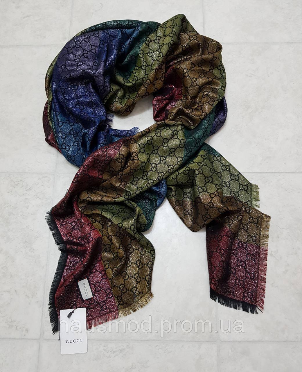 Женский платок шаль брендовый реплика Gucci 65% шелк, 35% кашемир + люрекс размер 1.45×1.45 см хамелеон 1