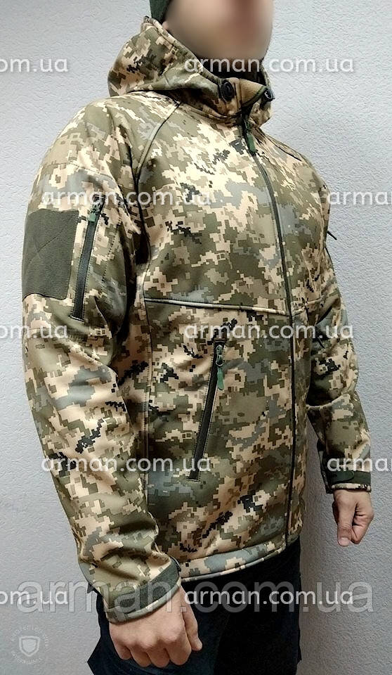 Куртка софтшел пиксель ВСУ. Оригинальная ткань softshell (ветровлагозащитная)