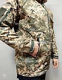 Куртка софтшел пиксель ВСУ. Оригинальная ткань softshell (ветровлагозащитная), фото 7