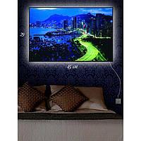 Картина с Led-подсветкой IdeaX Сияющая автострада 29х45 см