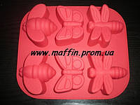 Форма силиконовая Бабочки новый 6 шт, фото 1