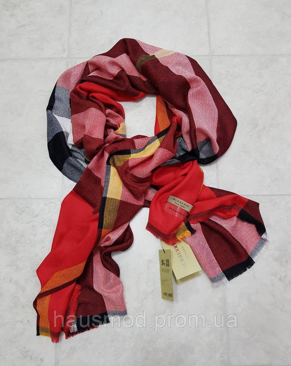 Женский палантин брендовый реплика Burberry 100% кашемир размер 190×80 см цвет красный