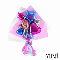 Букет из мини-фигур: Русалочка, звезда синяя Happy birthday, сердце фуксия, микро звезды и сердца
