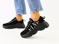 Женские черные замшевые кроссовки на массивной подошве