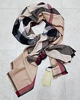 Женский палантин брендовый реплика Burberry 100% кашемир размер 190×80 см цвет бежевый, фото 1