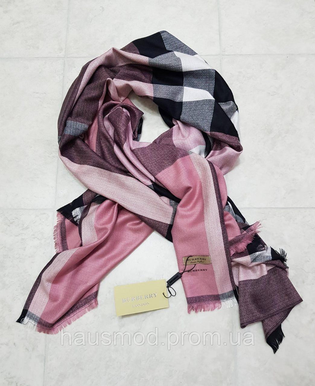 Женский палантин брендовый реплика Burberry 100% кашемир размер 190×80 см цвет розовый