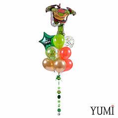 Связка: Черепашка-ниндзя Рафаэль, звезда С Днем рождения, 11 шаров и гирлянда Ниндзя-черепашки