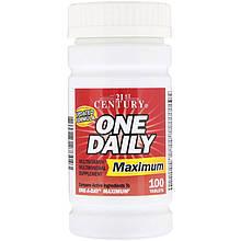 """Вітаміни і мінерали, 21st Century """"One Daily Maximum"""" максимального дії (100 таблеток)"""