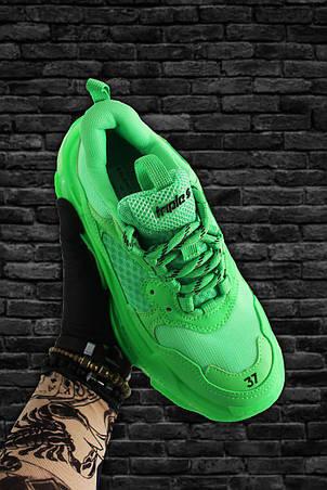 Кроссовки мужские Balenciaga Triple S Neon зеленые (Top replic), фото 2