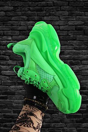Кроссовки мужские Balenciaga Triple S Neon зеленые (Top replic), фото 3
