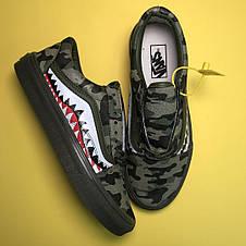 Кроссовки мужские Vans Old Skool Bape черные-камуфляж (Top replic), фото 3