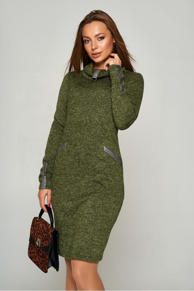 Осеннее платье из ангоры трикотажное цвета хаки