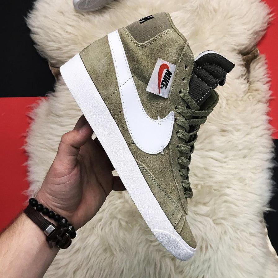 Кроссовки мужские Nike Blazer Mid темно-зеленые (Top replic)