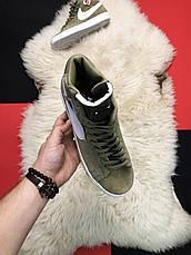Кроссовки мужские Nike Blazer Mid темно-зеленые (Top replic), фото 2