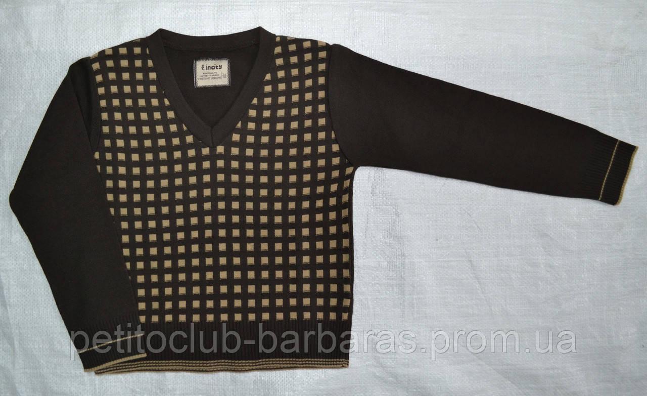 Пуловер для мальчика с узором коричневый (р. 122-158 см) (InCity, Турция)