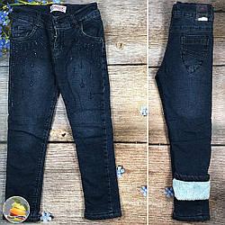 Тёмно синие джинсы на травке для девочки Размеры: 5,6,7,8 лет (9182)