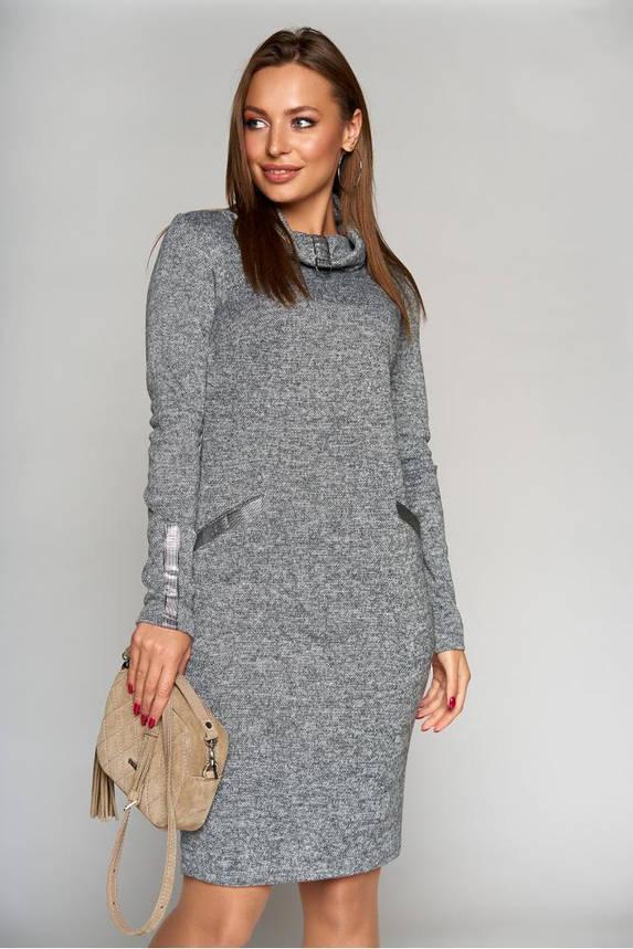 Осеннее платье трикотажное с длинным рукавом, фото 2