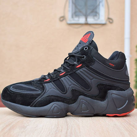 Кроссовки теплые мужские Adidas Equipment FYW S-97 на МЕХу, черные-красные (Top replic), фото 2